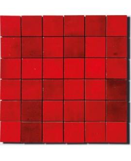 mosaique zellige 5x5cm rouge sur trame 30x30cm