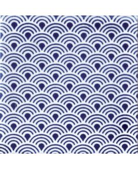 carrelage japon ayumi bleu 10x10cm peint à la main