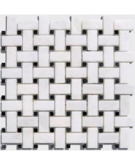 mosaique marbre art-déco blanc et noir sur trame 30x30