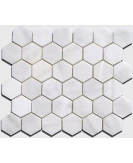 mosaique hexagone de marbre blanc 4.8cm sur plaque 30.5x30.5x1cm