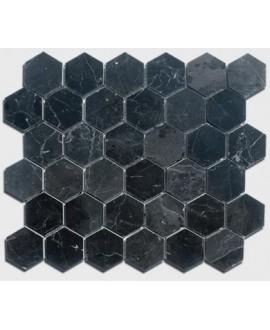 mosaique hexagone de marbre noir 4.8cm sur plaque 30.5x30.5x1cm