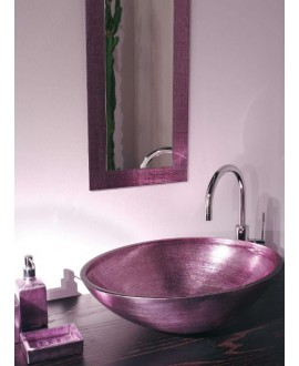 miroir avec cadre en verre décoré couleur lilla 30x110cm