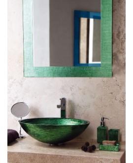 miroir avec cadre en verre décoré couleur émeraude 70x90cm