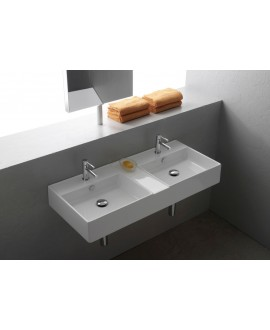 Vasque en céramique émaillée scateoremeR blanc brillant, à poser ou suspendu 106x46x14 cm