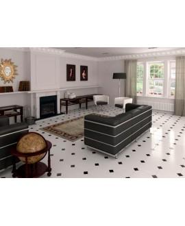 Carrelage E octogone blanc brillant 20x20cm avec cabochon noir brillant 5x5cm