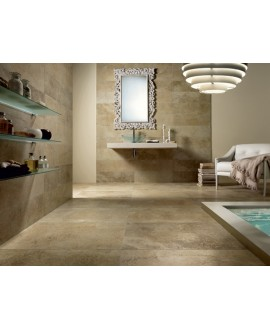 Carrelage imitation travertin beige marron 45,3x45,3cm, oxyda