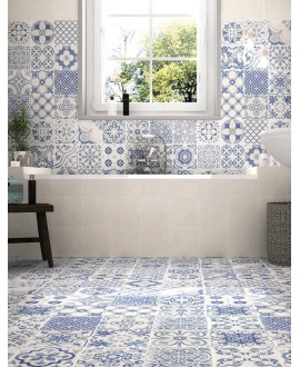 Carrelage realskyros blanc et decor blanc effet carreau ciment