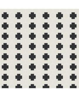 Mosaique en grès cérame fin vitrifié W tetrix blanc et noir en plaque de 27.1x25.3cm