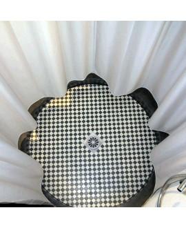 Mosaique en grès cérame fin vitrifié W damier blanc et noir en plaque de 30.8x30.8cm
