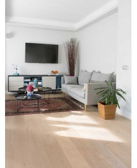 parquet contrecollé en chêne verni , largeur 190 mm layork natural white
