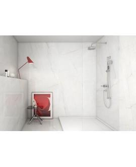 Carrelage poli brillant imitation marbre 60x60cm rectifié, géoswing blanc