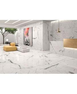 Carrelage poli brillant imitation marbre 60x60cm rectifié, géokairos blanc