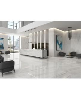 Carrelage imitation marbre poli brillant 60x60cm rectifié, géolasa blanc