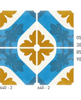 Carreau ciment véritable décor fleur 640-2 20x20cm