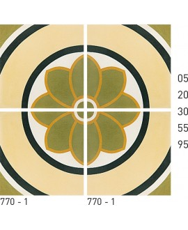 Carreau ciment véritable décor fleur 770-1 20x20cm
