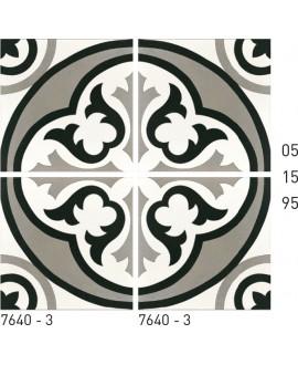 Carreau ciment véritable décor arabesque 7640-3 20x20cm