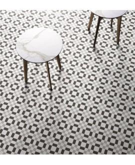 carrelage patchwork 02 black and white effet carreau ciment 20x20 cm rectifié