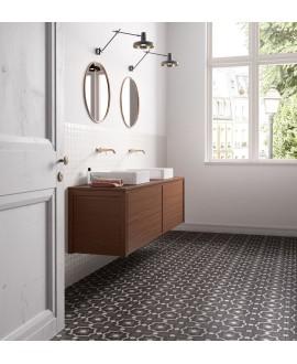 Carrelage patchwork 04 black and white imitation carreau ciment 20x20 cm rectifié