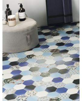 Carrelage hexagone realhex nouveau bleu 26.5x51cm