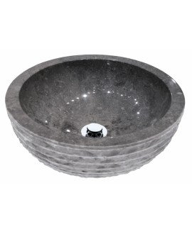 Vasque en pierre MO ronda gris diamètre:40cm hauteur:15cm